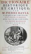 View Image 2 of 3 for Dictionaire Historique Et Critique. Inventory #3208
