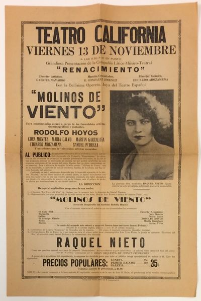 Los Angeles: Teatro California, 1931. inch poster on newsprint, fold-creased, evenly toned. Black an...