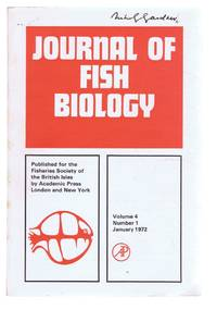 Journal of Fish Biology. Volume 4, Number 1, January 1972 by L E Mawdesley-Thomas (Ed). D I Gibson; E Trewavas & P K Talwar; D Cragg-Hine; etc - Paperback - First Edition - 1972 - from Bailgate Books Ltd and Biblio.com