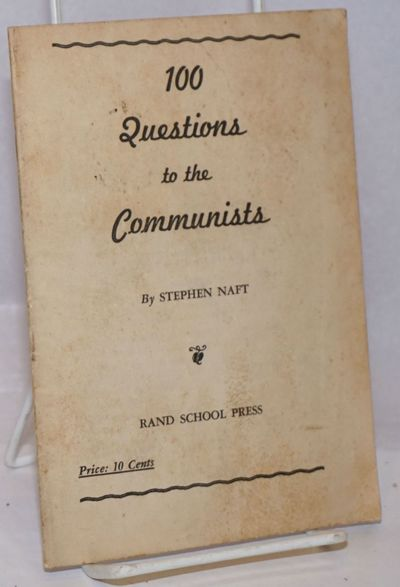 New York: Rand School Press, 1939. Pamphlet. 25p., worn wraps stained else good condition, 5.5x7.5 i...