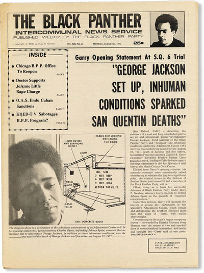 Oakland: Black Panther Party, 1975. First Edition. Paperback. Contents include articles on George Ja...