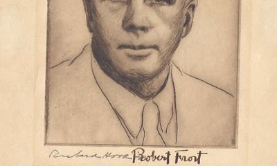 1930. Robert Frost An etching of Robert Frost done in the 1930s by noted printmaker and designer Ric...