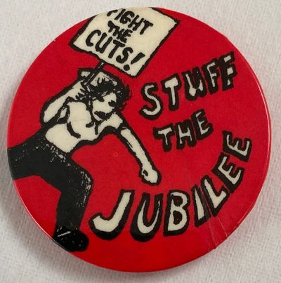 : , 1977. 1.75 inch diameter pin, surface slightly wrinkled at lower right, as made. Attributed the ...
