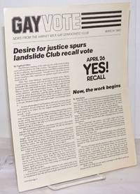 image of Gay Vote: news from the Harvey Milk Gay Democratic Club; March 1983; Desire for Justice Spurs Landslide Club Recall Vote