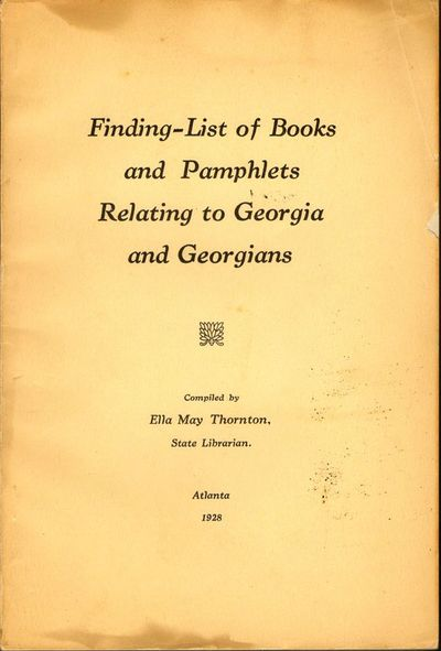 Atlanta: n.p., 1928. First Edition. Wraps. Good. 8vo. 129 pages. CLight colored wraps with title on ...