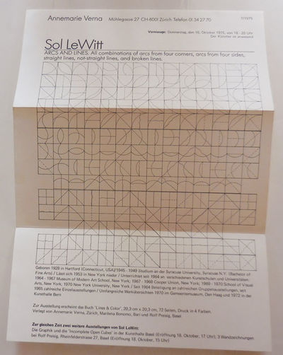 Zurich: Annemarie Verna, 1975. First edition. Loose Sheets. Near Fine. Single folded sheet of paper ...