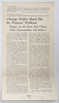 image of Chicago dailies hard hit by printers' walkout. Wages are issue, says Union; other organizations aid strikers [handbill]