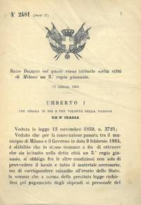 col quale viene istituito nella città di Milano un Regio Ginnasio.