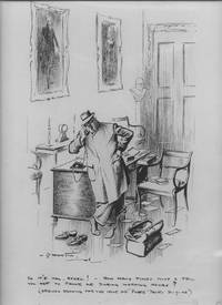 """""""So it's you, Ethel! How many times must I tell you not to phone me during working hours?"""": Original cartoon drawing, pen and wash on board, signed and dated lower left, captioned in lower margin"""