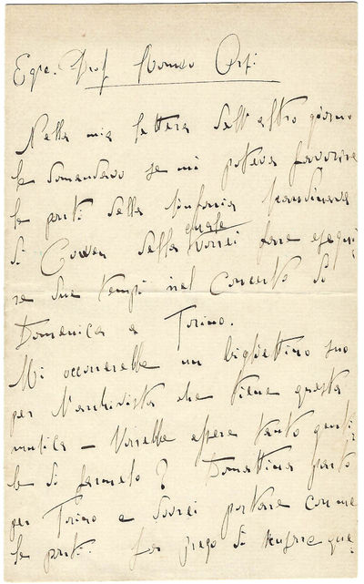 The Earliest Toscanini Letter to be...