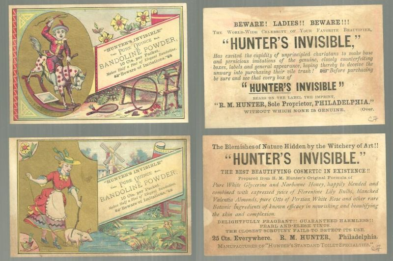 TWO VICTORIAN TRADE CARDS FOR BANDOLINE POWDER WITH CHILDREN, Advertisement