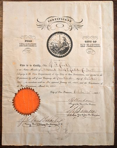 San Francisco, 1851 4pp. Quarto. Printed and manuscript, with official seal.