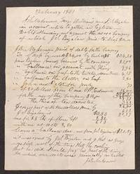 ACCOUNT AGAINST SQUIRE BIGALOW.  $20.27.  February 1851.  Logtown