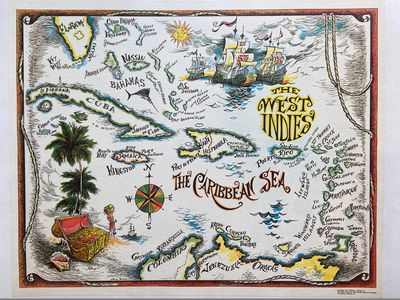 Miami: National Trading, Inc, 1971. Map. Offset lithograph with archival linen support. Image measur...