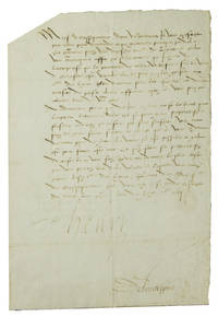 "Letter, signed (""Henry"")' to his ambassador extarordinary in Switzerland, the Abbé de Bassefontaine, countersigned by him (""Delaubespine"")"