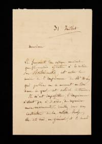 "Autograph letter signed (""H. Berlioz"") regarding his article on Dmitri Bortnyansky"