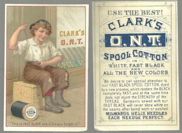 CLARK'S FAST BLACK SPOOL COTTON VICTORIAN TRADE CARD, Advertisement