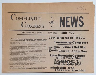 San Francisco: Community Congress, 1975. 4p., tabloid format newspaper, horizontal fold, evenly tone...