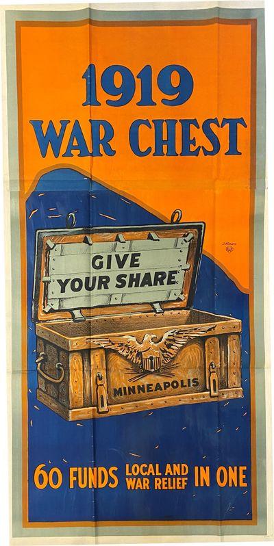 Minneapolis. Original poster mounted on linen. Measures 80