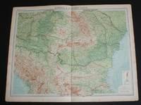 "image of Map of ""Rumania & Adjacent States"" from 1920 Times Atlas (Plate 47) covering Romania, Yugoslavia, Bulgaria, Montenegro, Serbia, part of Hungary, etc. and including Bucharest, Budapest, Sofia, Varna, Odessa, Belgrade, Edirne, etc"