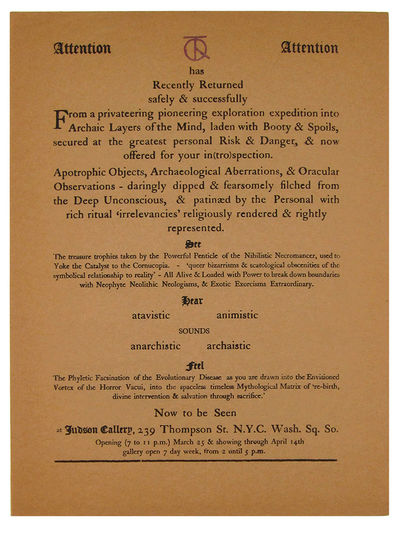 New York: Uranian Press, 1960. First Edition. Broadside. Near fine. Broadside, approximately 12 x 9 ...