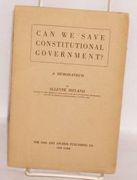 image of Can we save constitutional government? A memorandum
