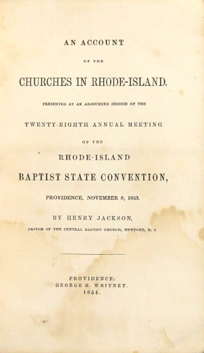 Providence: George H. Whitney, 1854. First edition, 8vo, pp. 134; steel-engraved frontispiece of the...