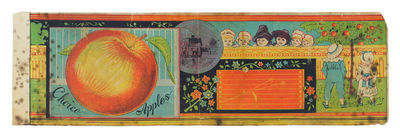 """. Oblong label from an apple crate. 4 1/2"""" tall x 14"""" wide. Full-color illustrations. Some chipp..."""