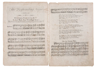 Philadelphia: Carr & Co, 1793. Quarto. Engraved sheet music, on two sheets. Very rare early American...