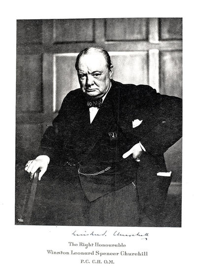 Rare original Cartier-printed program from the dinner held in honor of Winston S. Churchill at the W...