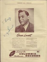 Philharmonic-Symphony Society of New York, 4363rd Concert under the Direction of Artur Rodzinski in an All Gershwin Program Thursday Evening April 18, 1945 [signed by] Oscar Levant, Pianist, Anne Brown, Soprano and Todd Duncan, Baritone, The.