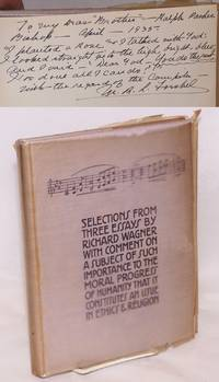 Selections from three essays by Richard Wagner with comment on a subject of such importance to the moral progress of humanity that it constitutes an issue in ethics & religion