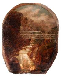 Large, Antique Oil Painting Depicting the Olympia Beer Logo; Original Painting of Tumwater Falls, Historic Site of Olympia Brewing Company, Tumwater, Washington State