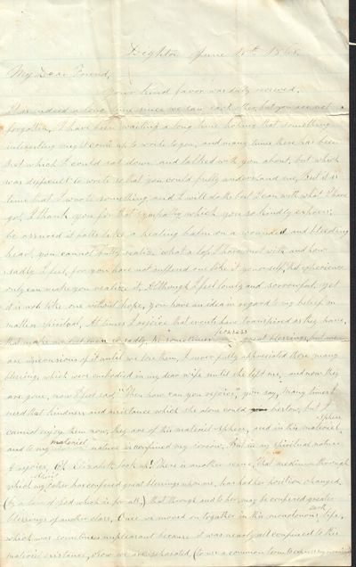 Letter from Dighton, MA Mourning...