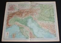"image of Map of ""Northern Italy, Austria, etc."" from 1920 Times Atlas (Plate 36) including Turin, Milan, Verona, Trieste, Venice, Florence, Ravenna, Bologna, Rome, Munich, Vienna, Budapest, Salzberg, Elba, etc"