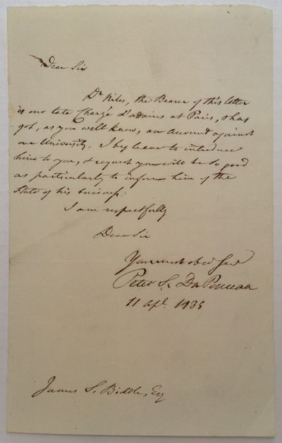1835. unbound. 1 page, 8 x 5 inches, no place, April 11, 1835. Written to Railroad Executive James S...