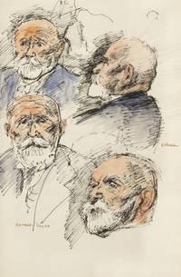 4 Head Studies of Dikran G. Kelekian. Pen and ink with watercolor on paper