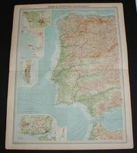 """image of Map of Portugal and Western Spain from 1920 Times Atlas (Plate 33 """"Spain & Portugal - Western Section"""") including inset plans of Oporto, Cadiz, Gibraltar and Lisbon and environs"""