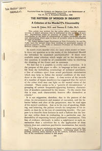 [drop-title] The pattern of murder in insanity: A criterion of the murderer's abnormality. by  Louis H.; & Thomas E. Coffin Cohen - [1946] - from Philadelphia Rare Books & Manuscripts Co., LLC (PRB&M)  (SKU: 39355)
