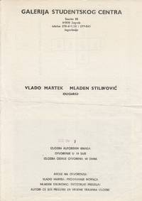 "Original poster announcing a work by Goran Trbuljak and Vlado Martek entitled ""Knjigarad"", on September 4, 1980, at Galerija studentskog centra, Zagreb"