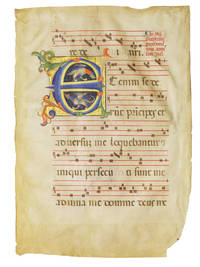 Leaf from a Medieval Gradual with miniature of Two Birds in an initial 'E' with musical notation