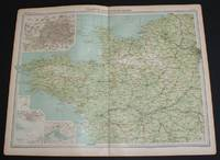 """image of Map of """"France - North-Western Section"""" from 1920 Times Atlas (Plate 28) covering Paris, Rouen, Le Havre, Rennes, Le Mans, Brest, Nantes, Angers, Tours and Poitiers and including the Channel Islands and an inset plan of Paris"""