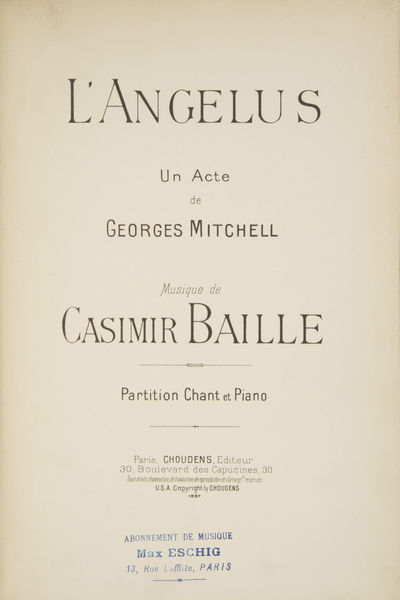 Paris: Choudens , 1897. Large octavo. Full textured black cloth with publisher's label to upper, tit...