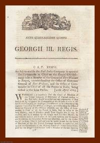 EAST INDIA COMPANY ACTS, 1805-61. A wide selection of 29 Parliamentary Acts, chiefly from the...