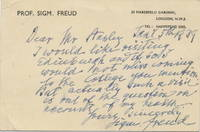 "Autograph Letter Signed  with uncommon extended signature, :Sigm. Freud,""  in English,, on ""Marsfield Gardens"" printed stationery card, small 8vo, London stationery, January 5, 1939"