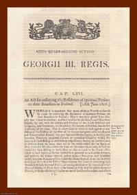 BENEFICES (IRELAND) ACTS, 1808-1860. An interesting selection of 3 original Acts of Parliament