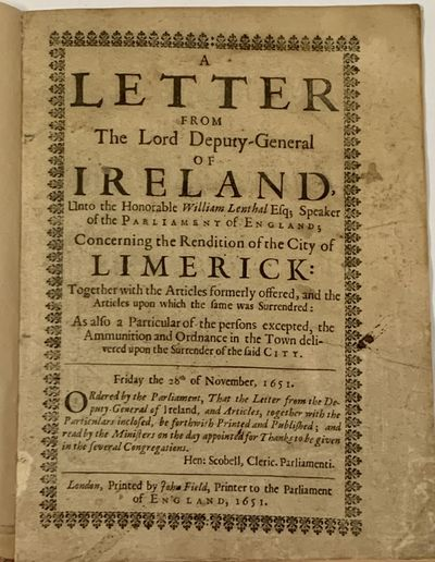 London: Printed by John Field, Printer to the Parliament of England, 1651. 1st Printing (Wing I-1032...
