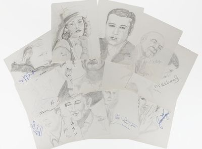 Collection of twelve rare graphite artist's sketches of Hollywood actors and actresses, each one sig...