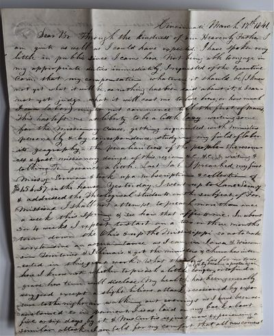 Cincinnati, 1841. 4to. 250 x 200 mm., . 4 pp. Manuscript in ink, previously folded with addres...