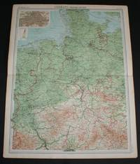 "image of Map of ""Germany - Western Section"" from 1920 Times Atlas (Plate 40) including Hamburg, Lubeck, Bremen, Essen, Hanover, Brunswick, Magdeburg, Cologne, Dusseldorf, Erfurt, Cassel, Weimar, Coblenz and Kiel"